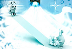 3d rabbit drive dollar cart to up slope illustration Stock Photography