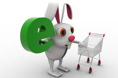 3d rabbit with e alphabet in green colour concept Stock Image