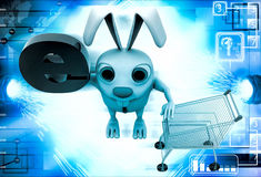 3d rabbit with e alphabet in green colour illustration Royalty Free Stock Photos