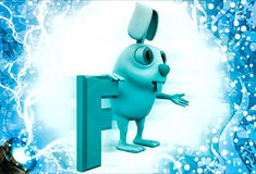 3d rabbit with F alphabet illustration Royalty Free Stock Photos