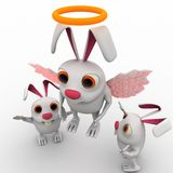 3d rabbit fairy with wings and ring concept Royalty Free Stock Photo