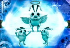 3d rabbit fairy with wings and ring illustration Stock Image