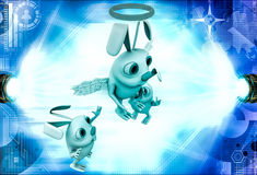 3d rabbit fairy with wings and ring illustration Royalty Free Stock Photography