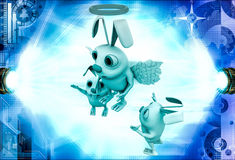 3d rabbit fairy with wings and ring illustration Royalty Free Stock Image