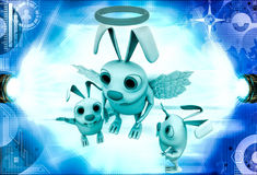 3d rabbit fairy with wings and ring illustration Stock Photography