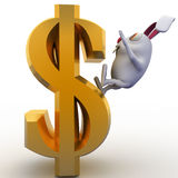 3d rabbit falling from dollar sign concept Royalty Free Stock Image