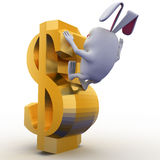 3d rabbit falling from dollar sign concept Royalty Free Stock Images