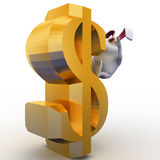 3d rabbit falling from dollar sign concept Stock Photography