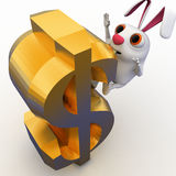 3d rabbit falling from dollar sign concept Stock Image