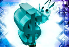 3d rabbit falling from dollar sign illustration Royalty Free Stock Photography