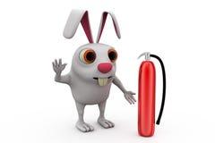 3d rabbit fire extinguish concept Stock Images