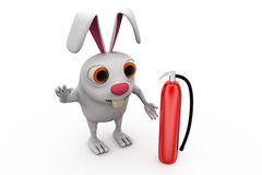 3d rabbit fire extinguish concept Royalty Free Stock Images