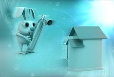 3d rabbit with  fire extinguish and home concept Royalty Free Stock Photos