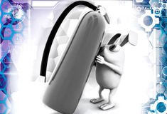3d rabbit with fire extinguish illustration Stock Photography