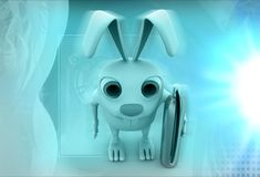 3d rabbit fire extinguish illustration Royalty Free Stock Photography