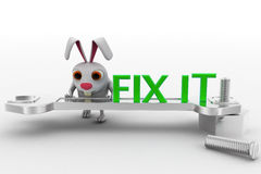 3d rabbit with fix it text on wrench concept Stock Photography