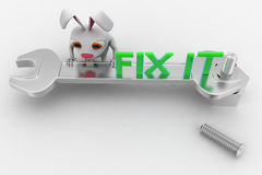 3d rabbit with fix it text on wrench concept Stock Images