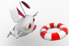 3d rabbit  with float tube for swim concept Royalty Free Stock Photography
