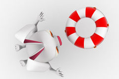 3d rabbit  with float tube for swim concept Royalty Free Stock Images