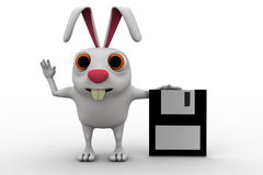 3d rabbit with flopy disk concept Royalty Free Stock Photo
