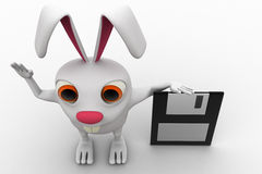 3d rabbit with flopy disk concept Stock Images