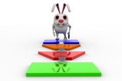 3d rabbit on flow chart concept Royalty Free Stock Photography