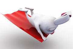 3d rabbit on flying carpet concept Royalty Free Stock Photography