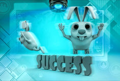 3d rabbit flying over alphabets of success illustration Stock Image