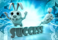 3d rabbit flying over alphabets of success illustration Royalty Free Stock Image