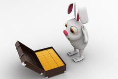 3d rabbit found gold bar suitcase concept Royalty Free Stock Photo