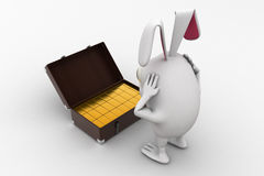3d rabbit found gold bar suitcase concept Royalty Free Stock Photography