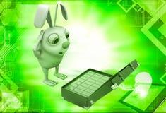3d rabbit found gold bar suitcase illustration Royalty Free Stock Photos