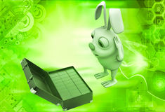 3d rabbit found gold bar suitcase illustration Stock Photo