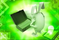 3d rabbit found gold bar suitcase illustration Stock Images