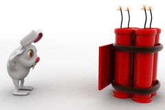 3d rabbit found letter with big live bomb concept Royalty Free Stock Image