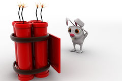 3d rabbit found letter with big live bomb concept Royalty Free Stock Images