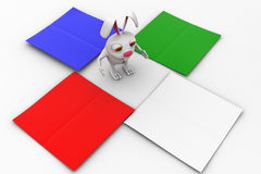 3d rabbit with four coloured paper on each side concept Royalty Free Stock Photography