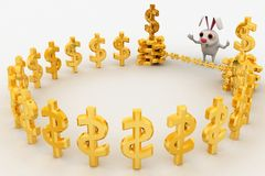 3d rabbit in front of golden dollar sign cage concept Royalty Free Stock Images