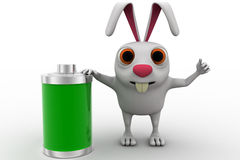 3d rabbit with fully charged battery concept Stock Photos