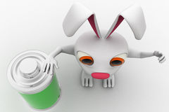3d rabbit with fully charged battery concept Royalty Free Stock Photography