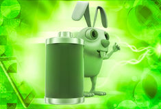 3d rabbit with fully charged battery illustration Stock Image