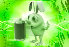 3d rabbit with fully charged battery illustration Royalty Free Stock Photography