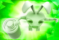 3d rabbit with fully charged battery illustration Stock Images