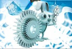 3d rabbit with gear cogwheel illustration Stock Images
