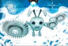 3d rabbit with gear cogwheel illustration Stock Photo