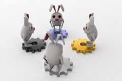 3d rabbit on gears concept Stock Photography
