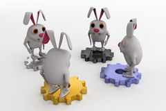 3d rabbit on gears concept Stock Image