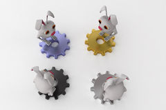 3d rabbit on gears concept Royalty Free Stock Images