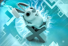3d rabbit getting relax on multiplication sign illustration Royalty Free Stock Photos