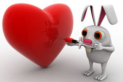 3d rabbit giving injection to big red heart concept Royalty Free Stock Photo